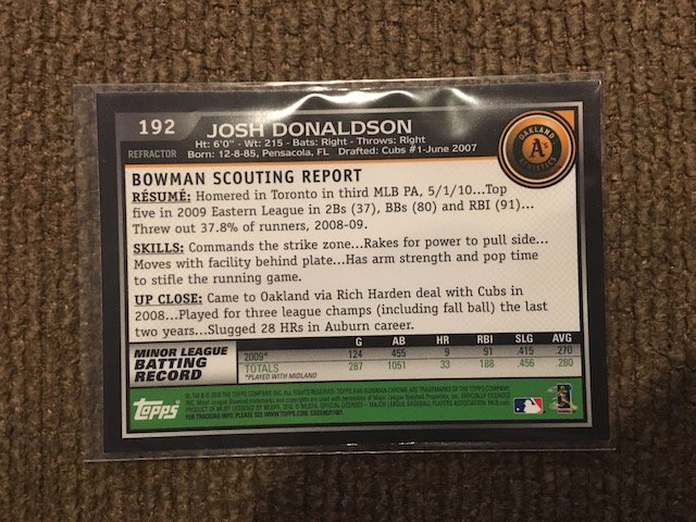 JOSH DONALDSON $20 BLUE JAYS ROOKIE REFRACTOR 192 RC SP - 2