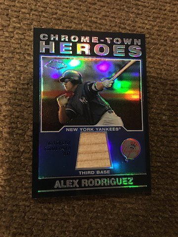 Alex Rodriguez Topps Chrome Town Heroes  Bat Card
