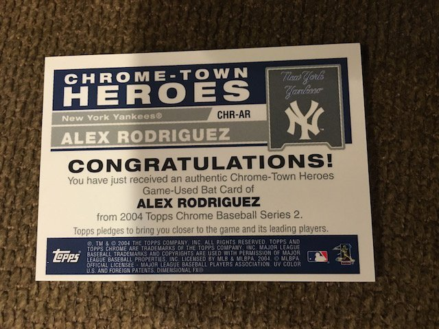 Alex Rodriguez Topps Chrome Town Heroes  Bat Card - 2