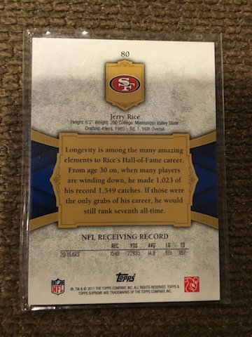 Jerry Rice 2011 Topps Supreme  Numbered to 499 - 2