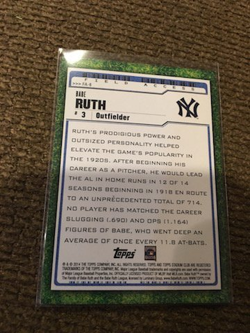 2014 TOPPS STADIUM CLUB FIELD ACCESS BABE RUTH BASEBALL - 2