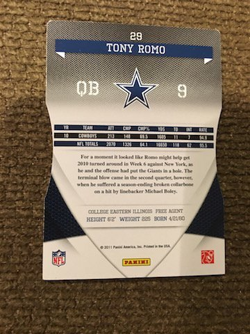 "2011 ELITE #29 TONY ROMO ""STATUS"" DIE-CUT SP #19/24 - - 3"
