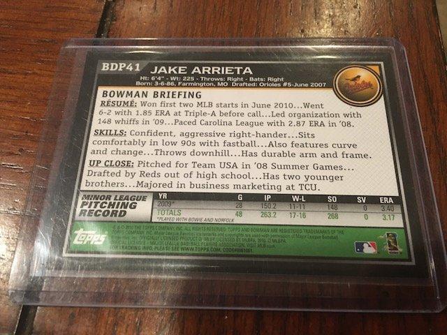 JAKE ARRIETA rookie card 2010 Bowman Draft Picks #BDP41 - 2