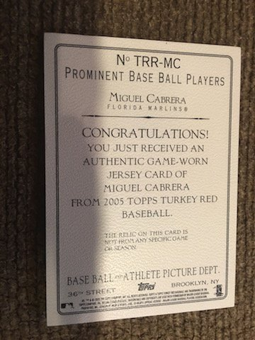 Miguel Cabrera 2005 Topps Turkey Red Jersey card - 2