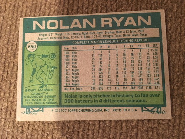 Nolan Ryan 1977 Topps #650 - 2