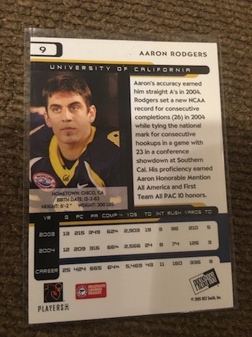 Packers Aaron Rodgers Rookie RC 2005 Press Pass #9 RC - 2