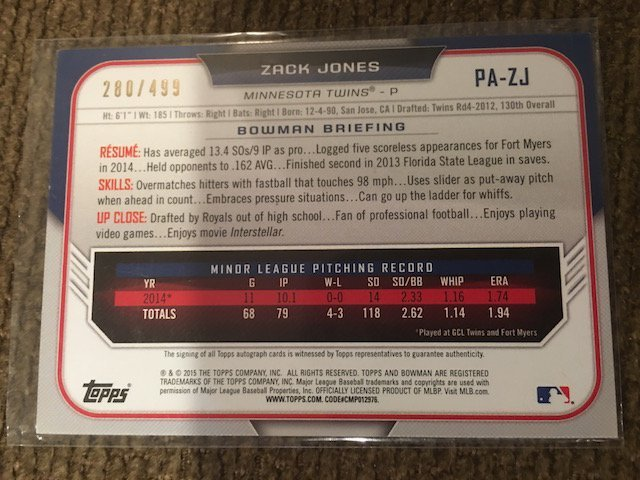 Zack Jones 2015 Bowman Auto Numbered to 499 - 2