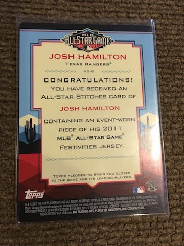 Josh hamilton Topps 2011 All Star Game Jersey card - 2