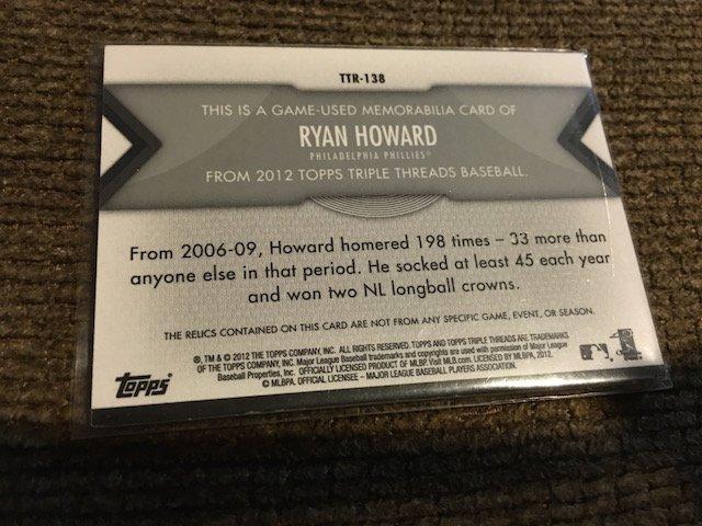 Ryan Howard 2012 Topps Triple Threads Multi Patch - 3