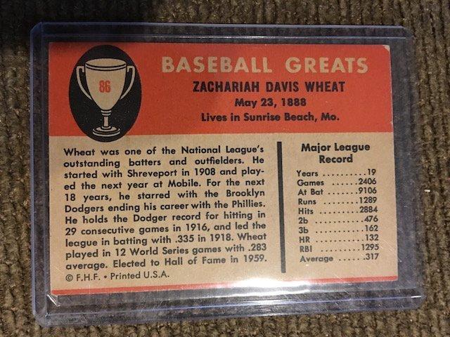 1961 Fleer Greats #86 Zach Wheat - 2