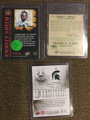 Emmitt Smith 2 card lot and Le'veon Bell SP Authentic - 2