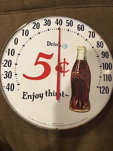 Vintage Coca Cola Thermometer Made in the USA 5cent