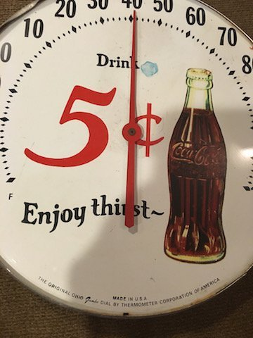 Vintage Coca Cola Thermometer Made in the USA 5cent - 2