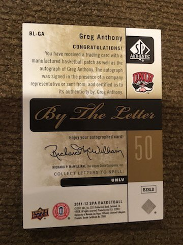 2011-12 Greg Anthony By The Letter autographed patch - 2