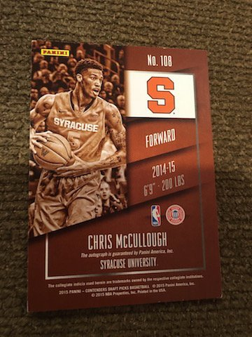 CHRIS MCCULLOUGH 2015 CONTENDERS AUTO AUTOGRAPH RC - 2