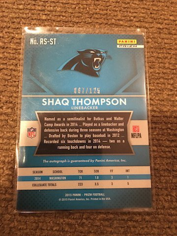 SHAQ THOMPSON 2015 PANINI PRIZM PANTHERS ROOKIE PRIZM - 2