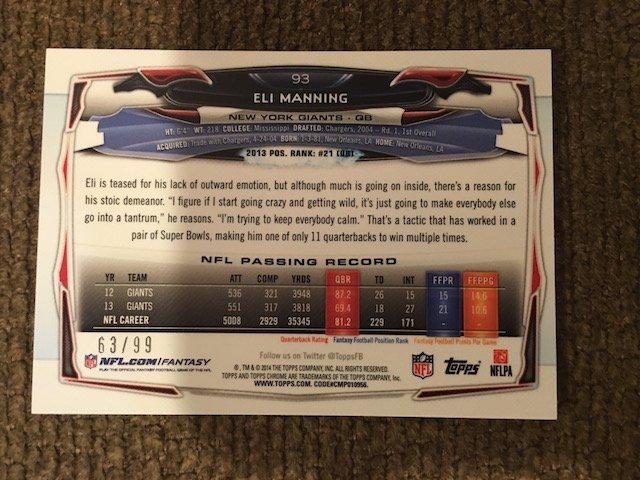 Eli Manning 2014 Topps Chrome Refractor /75 - 2