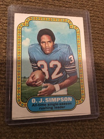 1974 Topps OJ Simpson #1 Condition