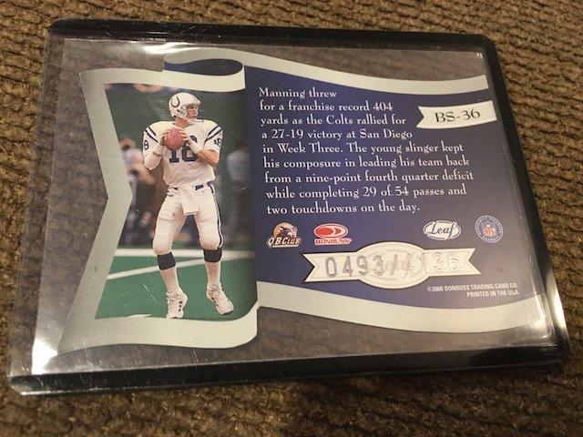 Peyton Manning 2000 Quantum Leaf Banner Season Die Cut - 2