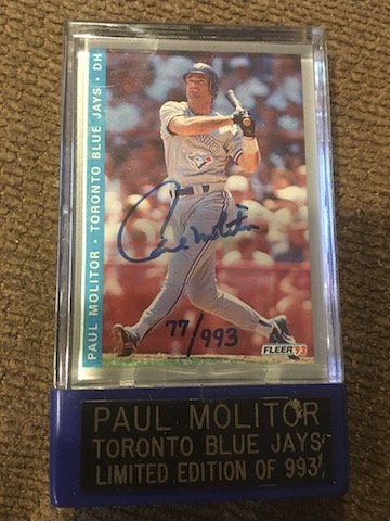 Paul Molitor 1993 On Card Autograph hand numbered to