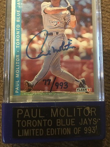 Paul Molitor 1993 On Card Autograph hand numbered to - 2