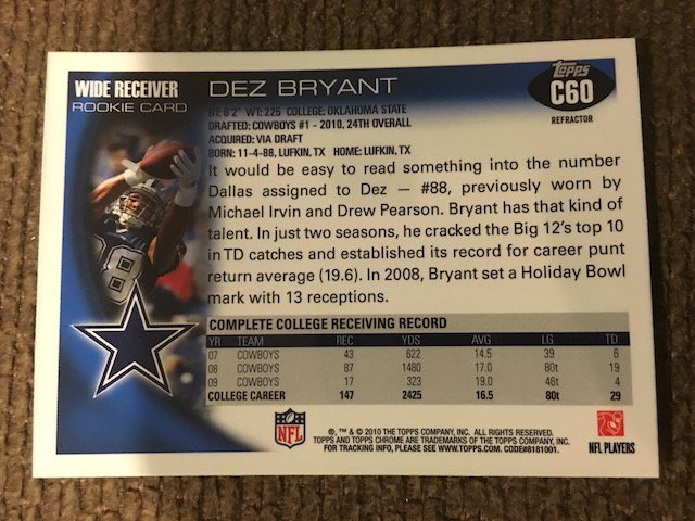 DEZ BRYANT 2010 TOPPS CHROME *REFRACTOR* RC ROOKIE CARD - 2