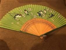 Vintage Handheld Folding Chinese Fan Birds