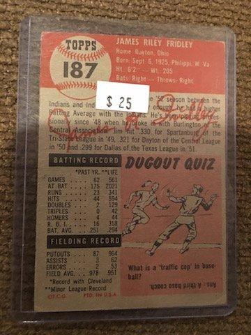 1953 TOPPS JIM FRIDLEY #187 - 2
