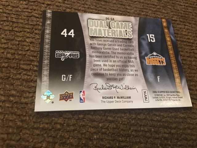 George Gervin Carmelo Anthony 2009-10 Upper Deck Dual - 2