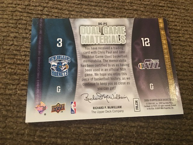 Chris Paul John Stockton 2009-10 Upper Deck Dual Game - 2