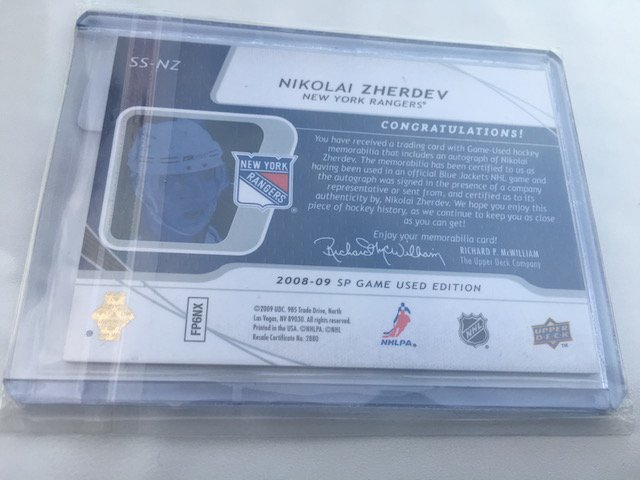 Nikolai Zherdev 2008-09 SP Game Used Significant - 2