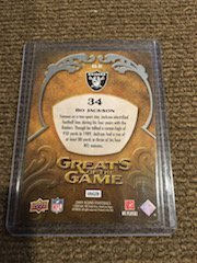 2009 UD ICONS Bo Jackson GREATS OF THE GAME Short Print - 2