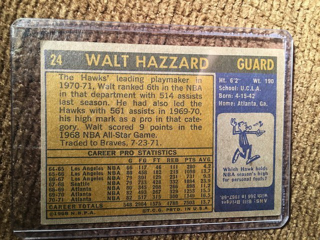 1971-71 Topps Walt Hazzard #24 - 2