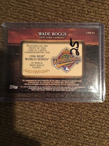 Wade Boggs 2009 World Series Patch 1996 World Series - 2