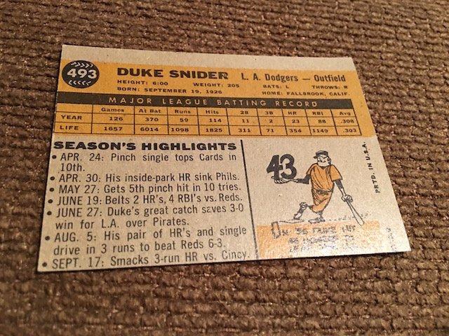 1960 TOPPS DUKE SNIDER #493 ... NM Sharp card Look - 4