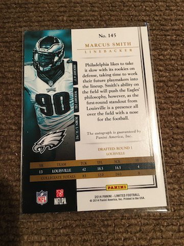 Marcus Smith 2014 Limited Auto Rare SP Numbered to 10 - 2