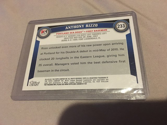 Anthony Rizzo 2011 Topps #233 Rc - 2