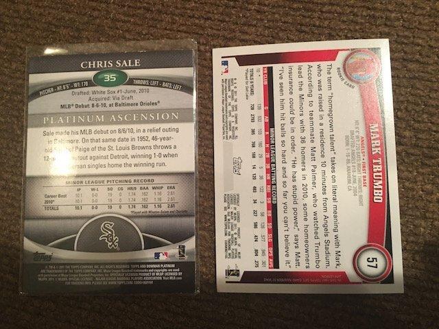 Chicago White Sox RC Chris Sale #35 & Mark Trumbo #57