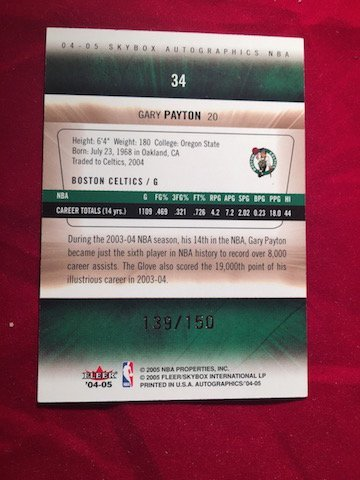 Boston Celtics G Gary Payton 20 #34 Autograph Card - 2