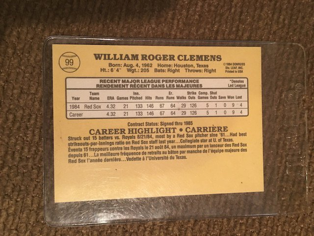 1985 Leaf Roger Clemens RC, NM-MT Boston Red Sox - 2