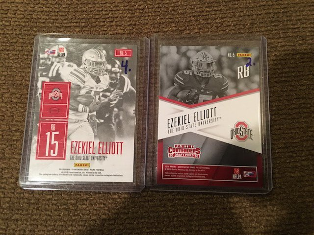 Ezekiel Elliot 2016 Contenders RC Lot Game Day and - 2