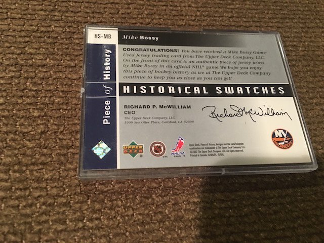 1978 All Star Historical Swatches Mike Bossy Upper Deck - 2