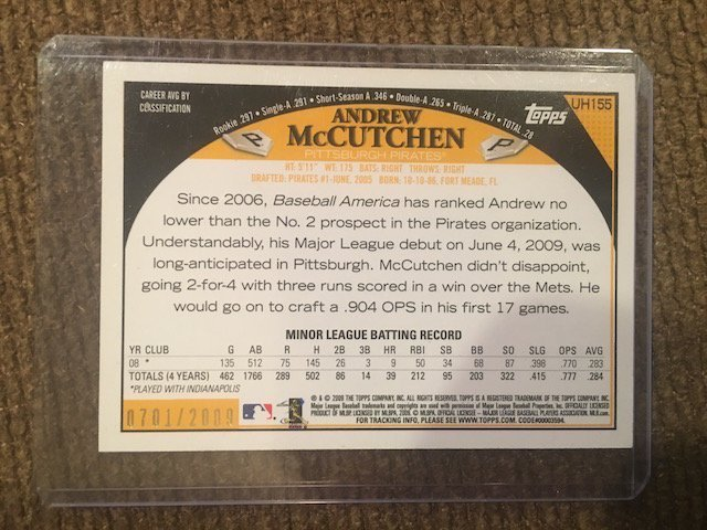 2006 Topps Update Gold Pirates Andrew McCutchen Rookie - 2