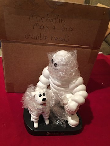 MICHELIN MAN AND DOG PROMOTIONAL BOBBLEHEAD FIGURINE