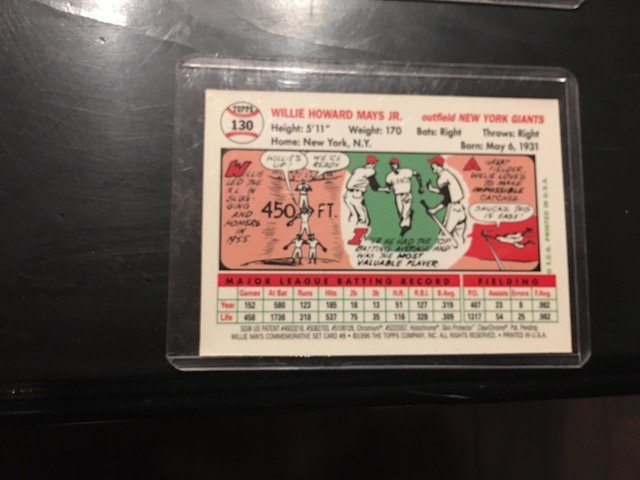 WILLIE MAYS 1996 Topps Chrome Reprint of 1954 Giants - 2
