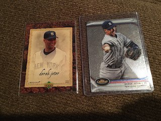 Derrick Jeter two cards lot topps finest and upper deck