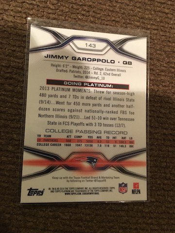 2014 Topps Platinum Jimmy Garoppolo RC New England - 2