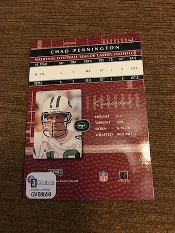 Chad Pennington 2001 Absolute Autograph ON Card with - 2