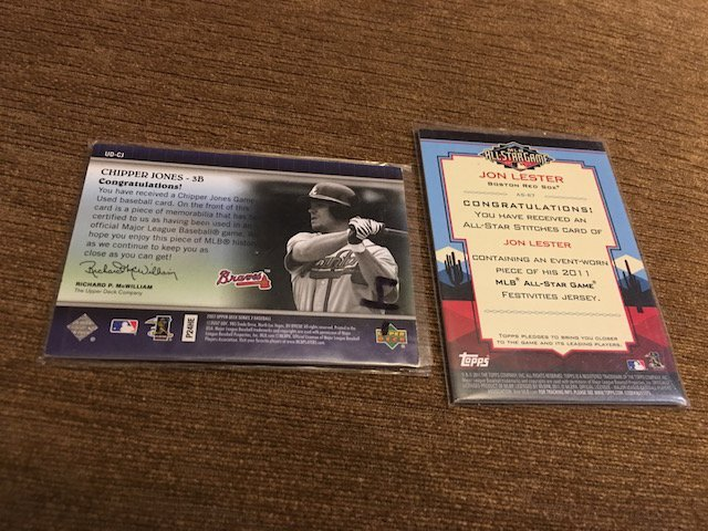 Chipper Jones and Jon Lester Jersey card Lot Braves and - 2