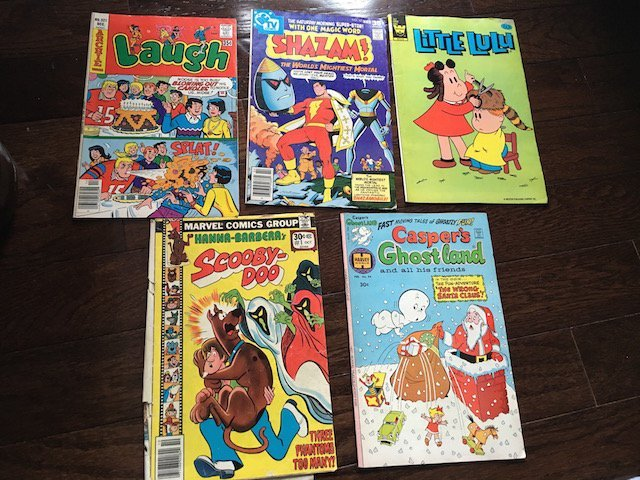 Lot of 5 Vintage Comics: Laugh Scooby Doo Shazam and